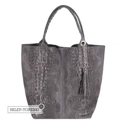 Włoska torebka worek A4 zamsz + krokodyl grafitowa (2504)