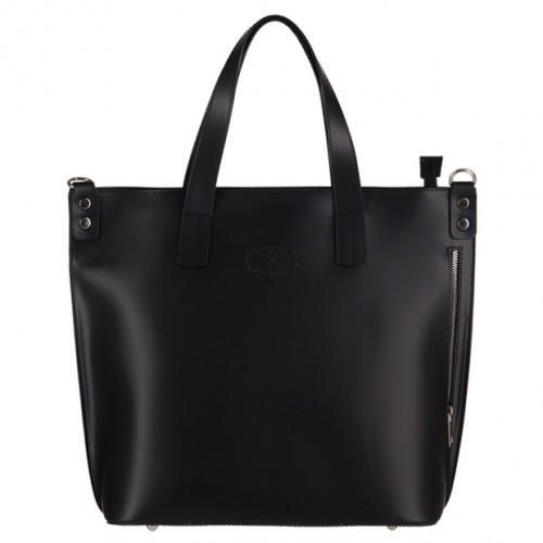 6ec79376ca188 Vera Pelle - Włoska duża klasyczna torebka A4 matowa skóra czarna (3143)