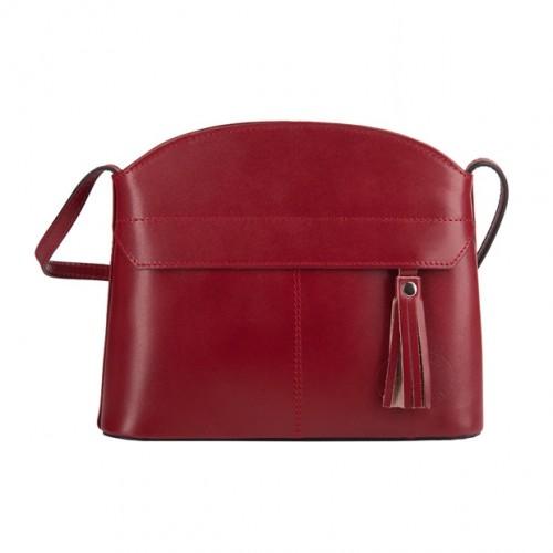 dbce15fb86d21 Vera Pelle - Włoska skórzana torebka listonoszka z kieszonką i frędzlem  bordowa (3576)