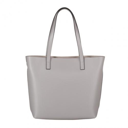 2badbbd34159a Włoska skórzana torebka shopper bag szara (4066)