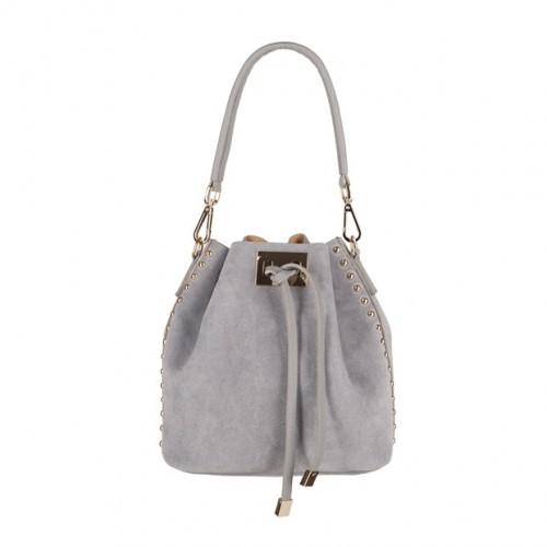 03d690cfc6cd8 Włoska torebka mały worek zamsz dżety szara (4161)