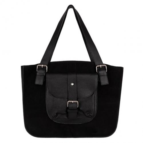 9a6c099e824e9 Włoska duża torebka shopper bag A4 zamsz+skóra czarna (4506)
