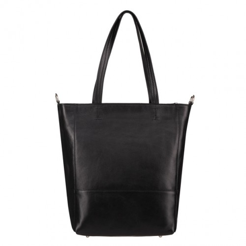 0232ced076d3c Włoska duża skórzana torebka shopper bag A4 czarna (4593)