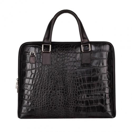 0f3e1c1b5a0406 Włoska elegancka aktówka skórzana A4 krokodyl czarna (4803)