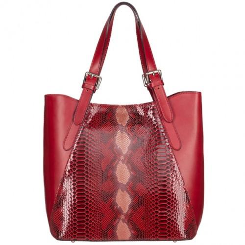 d3e953fa4e0c9 Vera Pelle - Włoska duża klasyczna torebka skórzana licowa + skóra wężowa  A4 czerwona (4903)