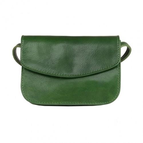1a19342ae296c Włoska mała trzykomorowa skórzana torebka listonoszka zielona (4973)