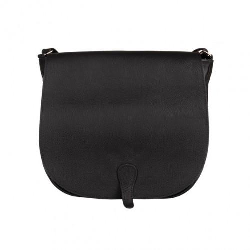 941f9e0d79a49 Duża skórzana torebka listonoszka z klapką czarna (5001)