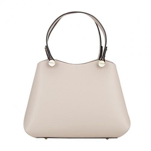 2257b880e531d Vera Pelle - Włoska elegancka torebka kuferek matowa skóra kremowa/ecru  (5096)