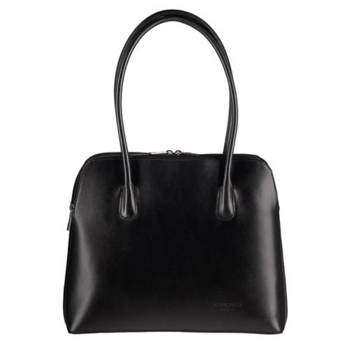 Vera Pelle - Elegancka włoska torebka skórzana A4 czarna (0474)