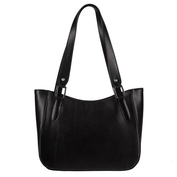 Włoska elegancka torebka skórzana czarna (0360)