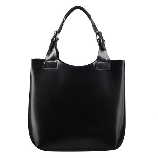 Włoska zgrabna torebka skórzana czarna (0650)