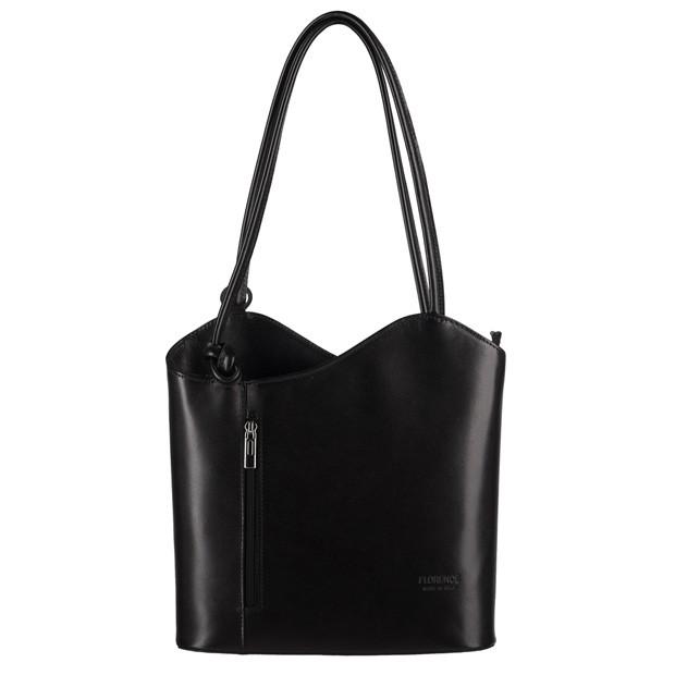 Florence - Skórzana włoska torebka plecak 2w1 czarna (0720)