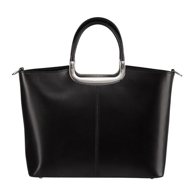 Klasyczna włoska skórzana torebka do ręki czarna (0737)