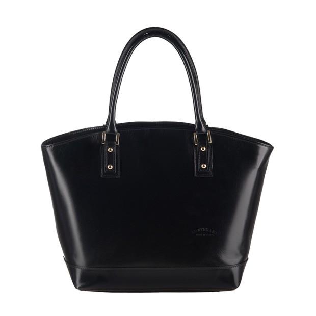 Włoska skórzana torebka typu shopper bag A4 czarna (0873)