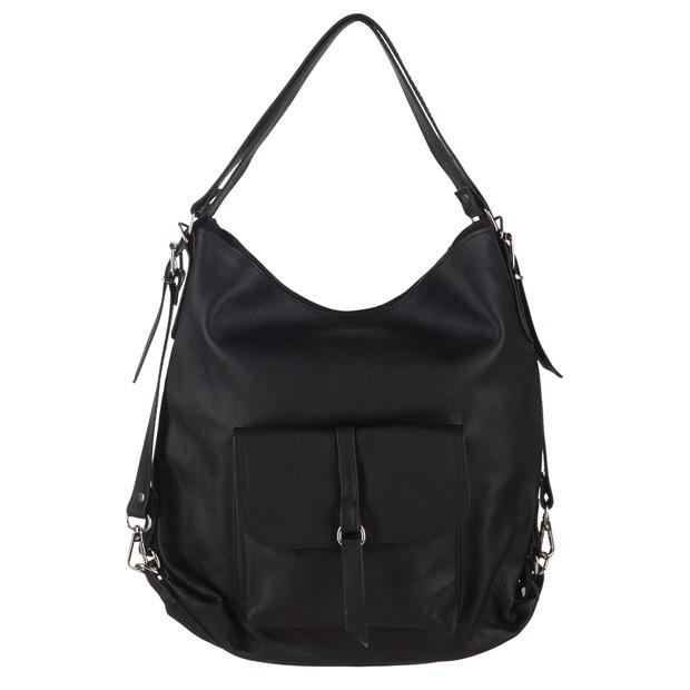 Torebka skórzana plecak 2w1 czarna (0895)