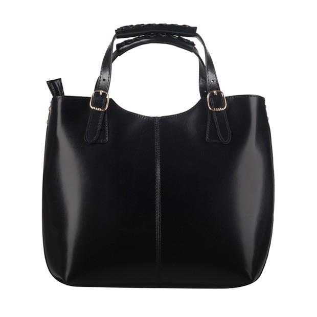 Włoska skórzana torebka shopper bag złote okucia A4 czarna (0932)