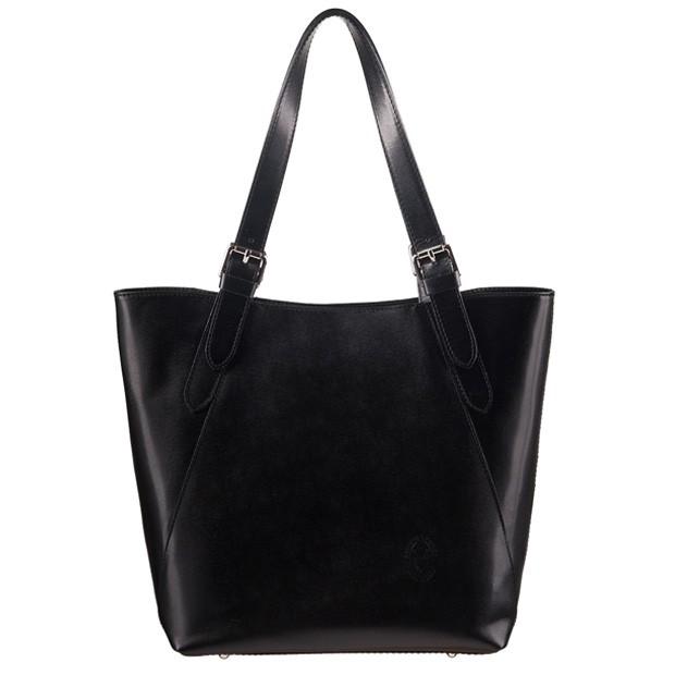 Włoska klasyczna torebka skórzana czarna (1267)