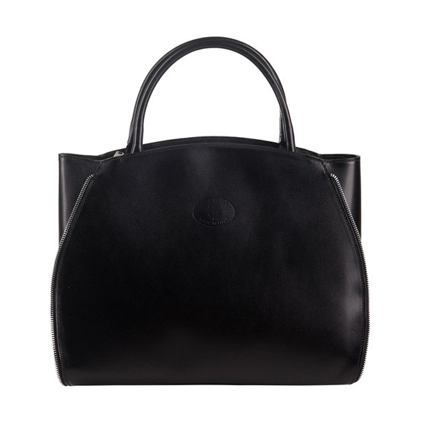 Vera Pelle - Włoska elegancka torebka skórzana A4 czarna (1268)