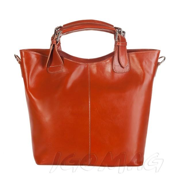 Włoska skórzana torebka typu shopper bag A4 camel (1280)