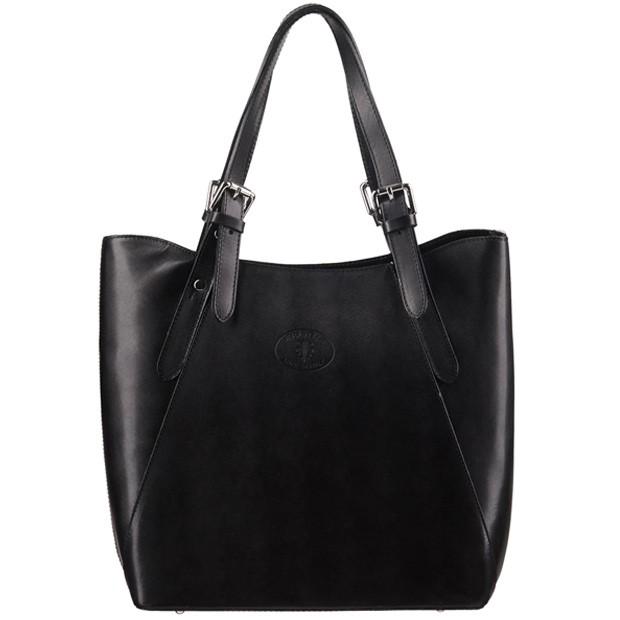Vera Pelle - Włoska duża klasyczna torebka skórzana A4 czarna (1304)