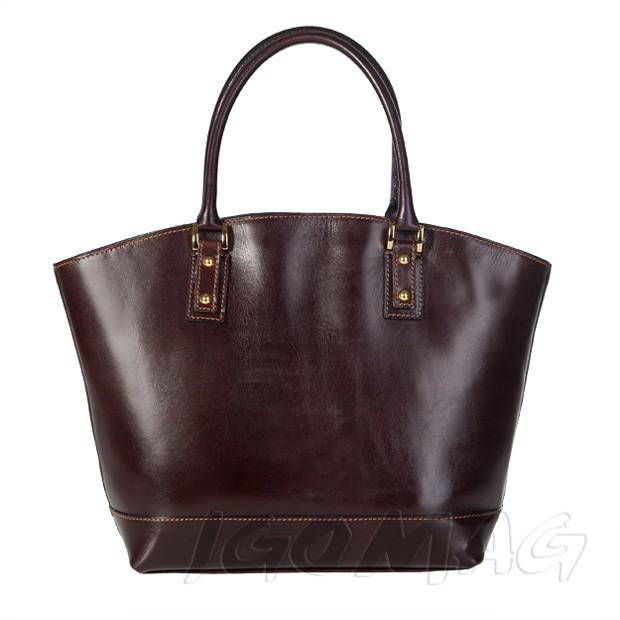 Włoska skórzana torebka typu shopper bag A4 ciemny brąz (1316)