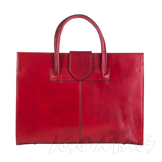 Włoska torebka aktówka skórzana czerwona (1319)
