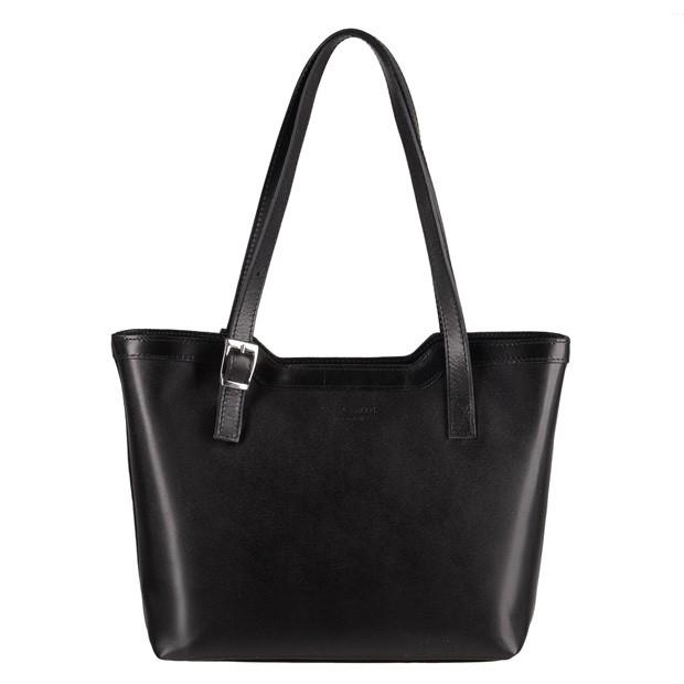 Vera Pelle - Włoska klasyczna torebka skórzana A4 czarna (1323)