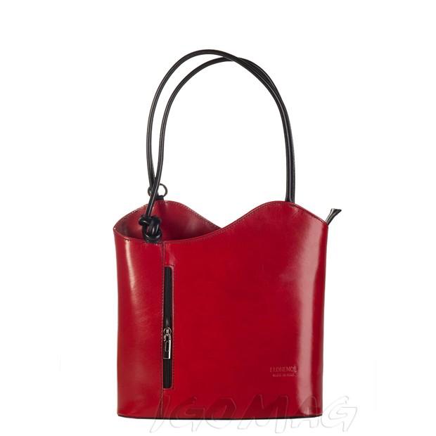 Florence - Skórzana włoska torebka plecak 2w1 bordowo + czarna (1392)
