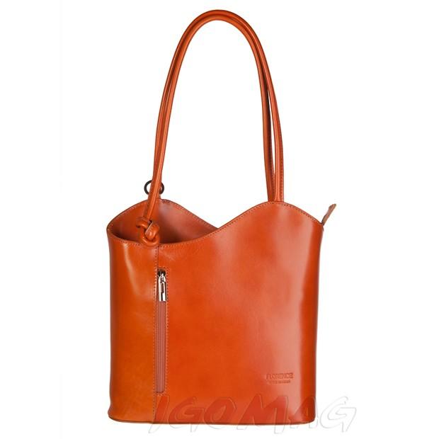 Florence - Skórzana włoska torebka plecak 2w1 camel (1735)
