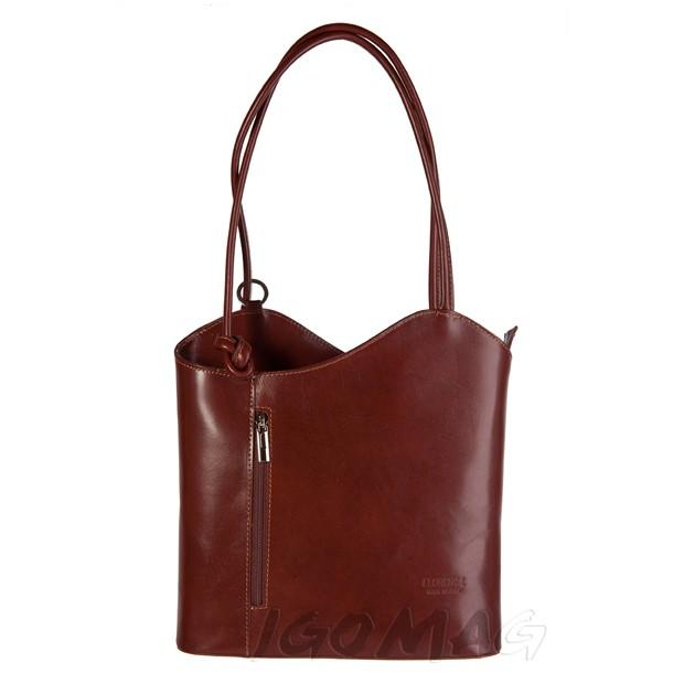Florence - Skórzana włoska torebka plecak 2w1 brązowa(1736)