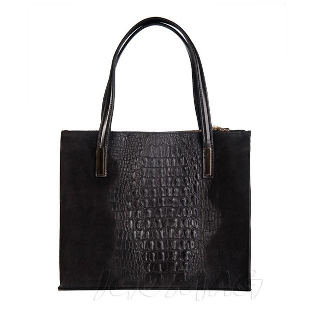 Włoska torebka skórzana kuferek zamsz + krokodyl złote okucia czarna (1836)
