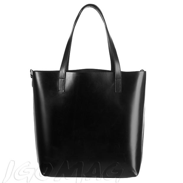 Włoska duża torebka shopper bag skóra czarna (2072)