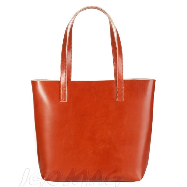 Włoska skórzana torebka shopper bag camel (2094)