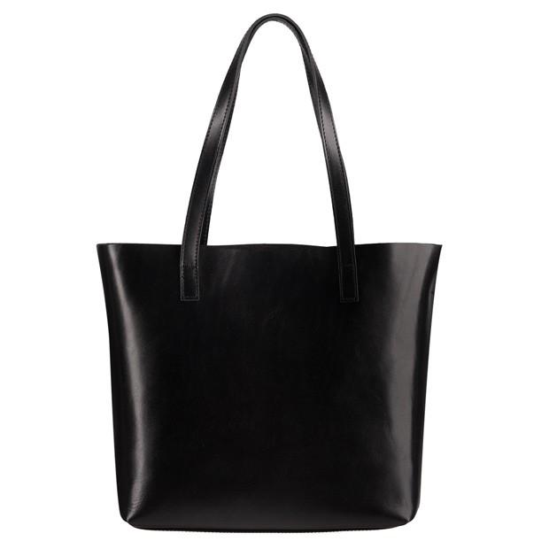 Włoska skórzana torebka shopper bag czarna (2095)