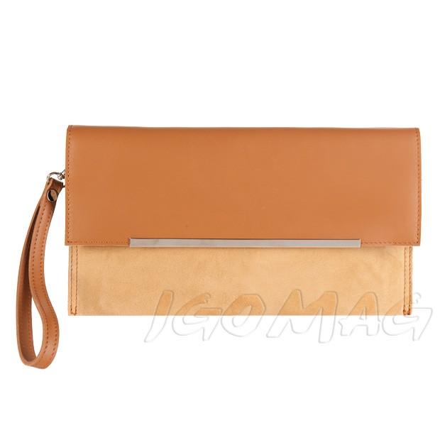 Włoska elegancka kopertówka skóra + zamsz camel (2115)