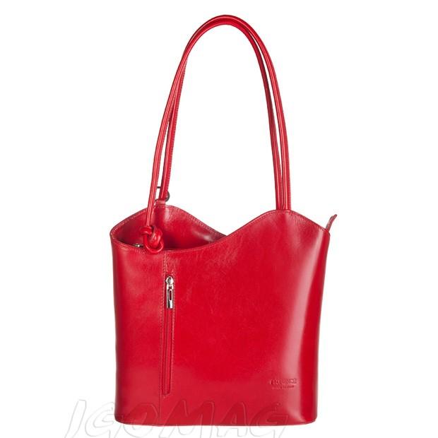 Florence - Skórzana włoska torebka plecak 2w1 czerwona (2139)