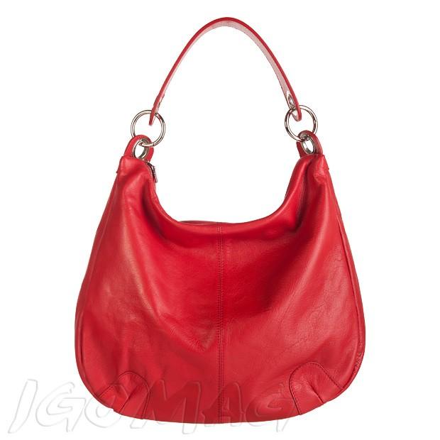 Włoska duża torebka skórzana worek z zamkami A4 czerwona (2147)