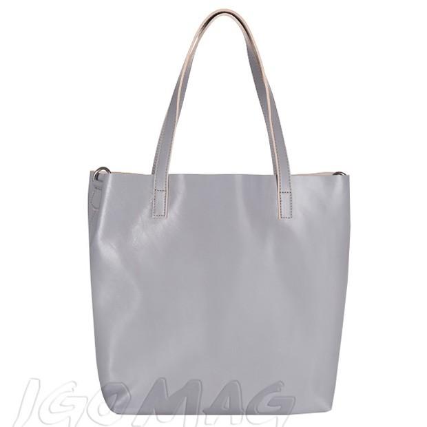 Włoska duża torebka shopper bag skóra szara (2192)