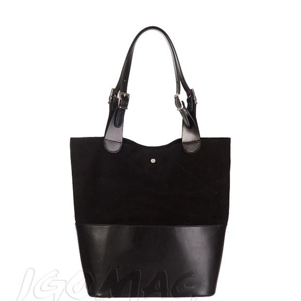 Włoska torebka shopper skóra + zamsz A4 czarna (2212)