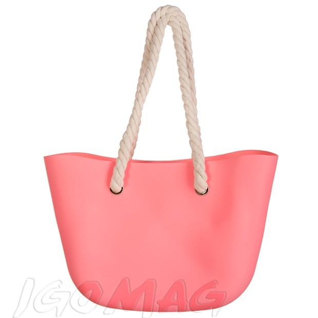 Gumowa torebka shopper bag łososiowa (2213)