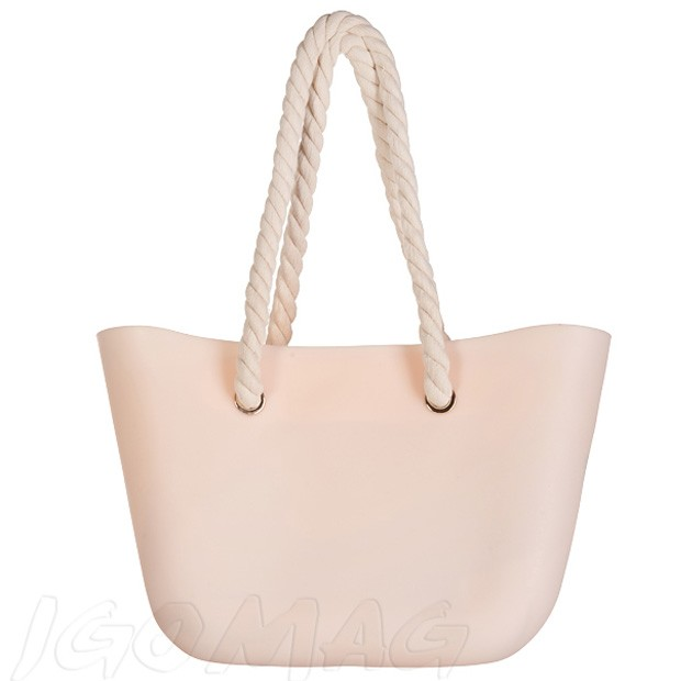 Gumowa torebka shopper bag pudrowy róż (2214)