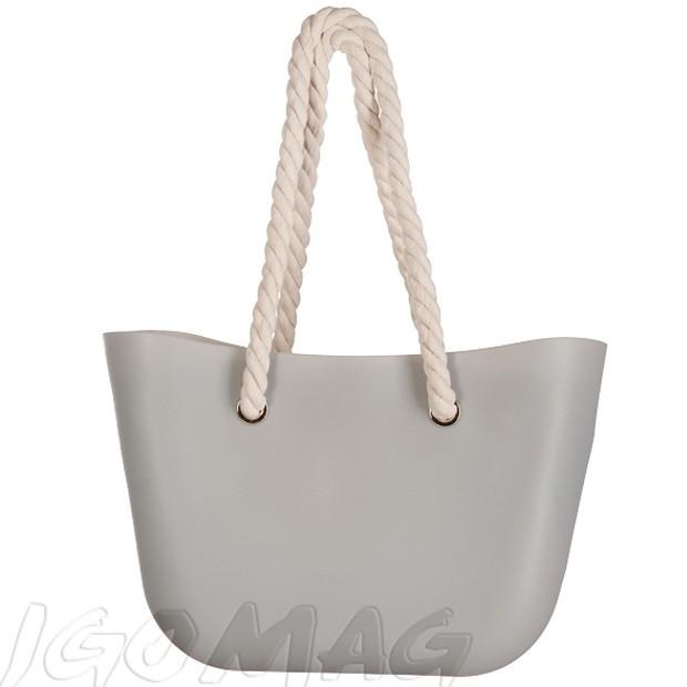 Gumowa torebka shopper bag szara (2215)