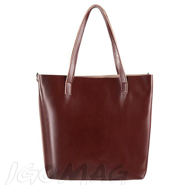 Włoska duża torebka shopper bag skóra brązowa (2314)