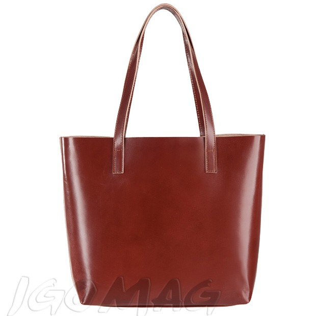 Włoska skórzana torebka shopper bag brązowa (2316)
