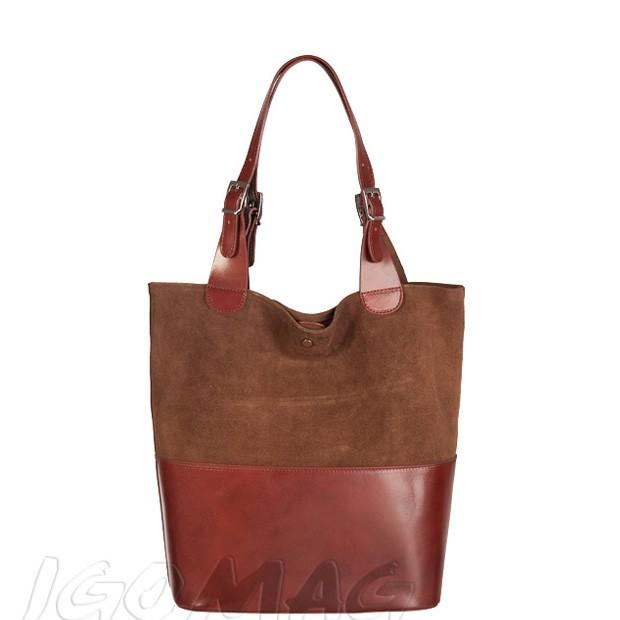 Włoska torebka shopper skóra + zamsz A4 brązowa (2321)