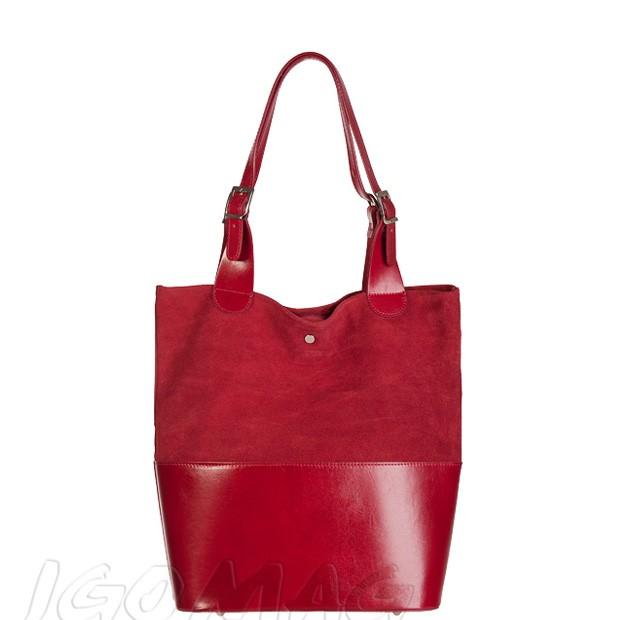 Włoska torebka shopper skóra + zamsz A4 czerwona (2322)