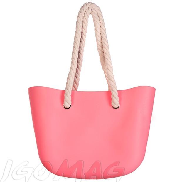 Gumowa torebka shopper bag różowa (2329)