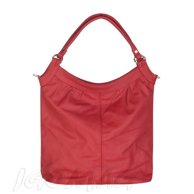 Klasyczna torebka skórzana worek A4 czerwona (2382)