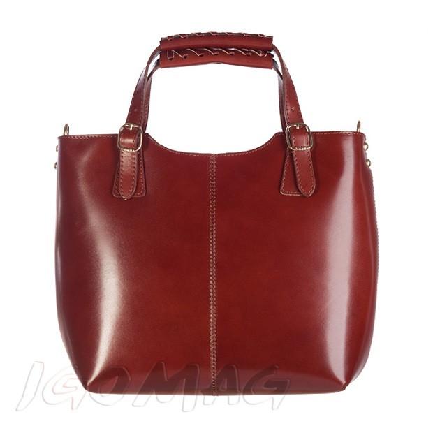 Włoska skórzana torebka shopper bag złote okucia A4 brązowa (2401)