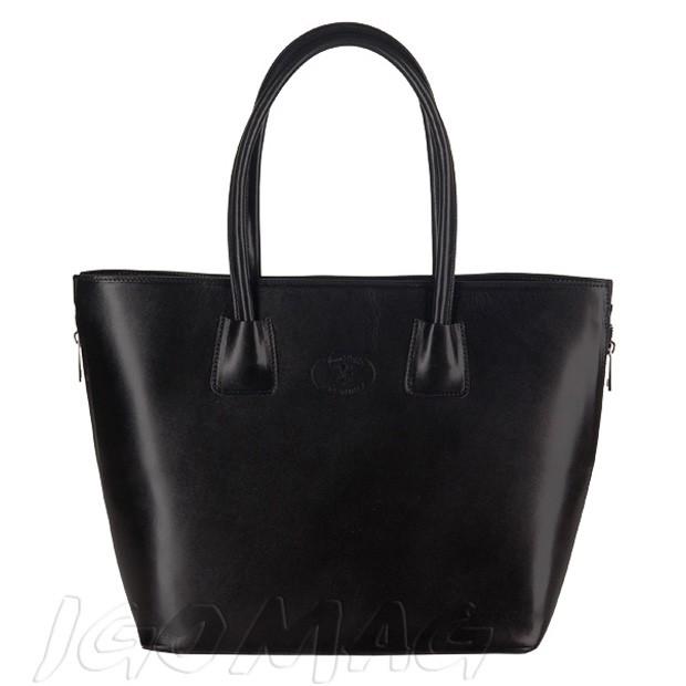 Włoska duża klasyczna torebka skórzana A4 czarna (2439)
